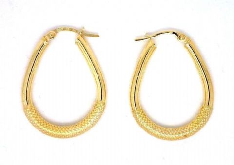 9ct Yellow Gold Patterned Oval Shape Hoop Earrings with Snap Shut Bar Closure